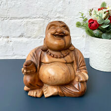 Hand Carved Wooden Laughing Happy Chinese Buddha Statue Sculpture Ornament Gift