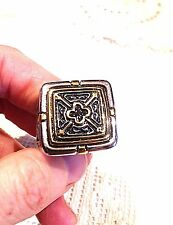 Vintage Large Gold Silver Stainless Steel Cross Crest Size 12 Men's Ring