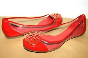 ❤️TORY BURCH Audrey Medallion Clear/Red Patent Leather Flat 7.5 L@@K!u