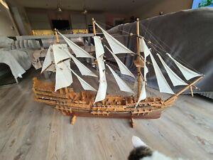 Large Vintage Handmade Wooden Armada Ship