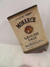 Antique MONARCH Ground Sage Spice Tin LION Store Reid Murdoch Chicago Vintage