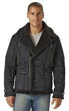 Men's Excelled Shearling-Look Moto Jacket Black L #NJ1F5-457