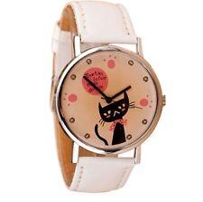 Mens Womens Cat Animal Kitty Design Cute Gift Wrist Watch White Leather