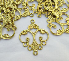 Charm Connector 25x32mm Brass Filigree Earring Component bf278 (20pcs)
