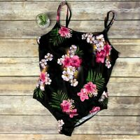 VTG Tropical Floral Hibiscus One Piece Bathing Suit Barefoot Miss Swimsuit 20W