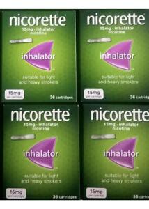Nicorette Inhalator 15mg 36 Cartridges x4(4 Boxes)(144 Cartridges Total) NEW