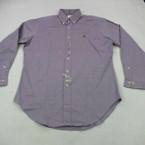 Polo Ralph Lauren Shirt Mens Large Long Sleeve Purple Herringbone Button Down