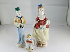 "Vintage Antique Lot of 3 Figurines 7"" Lady Man Child Colorful Occupied Japan"