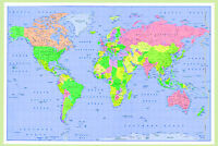 huge laminated large WORLD MAP poster wall chart brand new latest size 36x24 inc