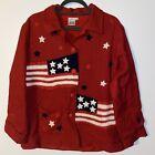 Parsley & Sage Art to Wear Large Patriotic Red White Blue Patriotic Jacket