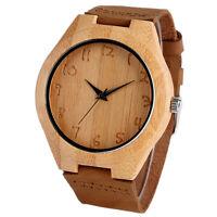 Creative Bamboo Men's Nature Wood Genuine Leather Band Strap Quartz Wrist Watch