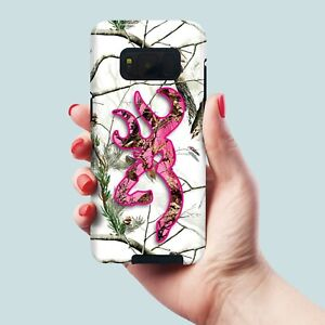 Camo Deer Head Pink Galaxy Note 8, 9, 10, 10 plus, hybrid Shockproof tough Case