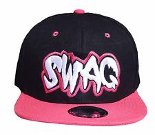 SWAG Basecap Baseball SNAP BACK Schwarz Pink Fittet Kappe Cap