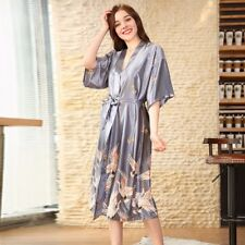 Ladies Japanese Faux Satin Silk Bath Robe Nightwear Sleepwear Slip Dress Pajamas