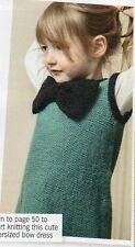 ~ Knitting pattern per bambino carino BUTTON-Back PUSSY-Cat CON FIOCCO abito dress ~