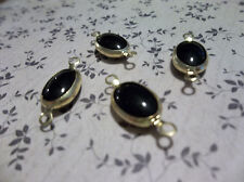 Vintage Black Glass Stones Gold Plated Channel Settings 20mm 2 Loop Links Qty 2
