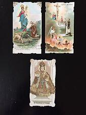 3 santini antichi Madonna, Bambino di Praga /holy cards / image pieuse / estampa