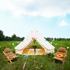 Double Door 4M Bell Tent Cotton Canvas Waterproof Yurts Tent Beach Glamping Tipi