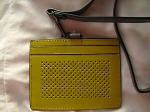 NEW! F65209 CRT, COACH AUTHENTIC LEATHER LANYARD, ID HOLDER