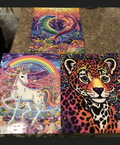 New Lisa Frank Glitter 2 Pocket Folders Set of 3 - Unicorn, Leopard, Dolphins
