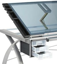 Studio Design Futura Craft Station Tempered Silver Blue Glass Drawing Table