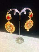 Indian Bollywood Orange Brown Stone Diamonte Earring Pearl Uk Seller New Long