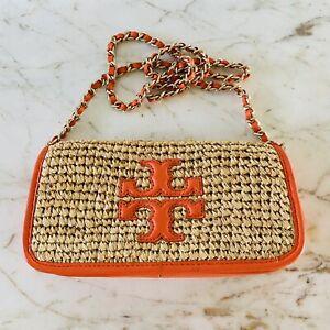 TORY BURCH Solid Tan Orange Straw Leather Trim Crossbody Bag