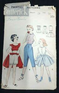 Butterick #7370 Children Girls Sport Outfit Pattern Size 10 Bust 28 Vintage 50s