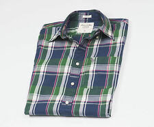 Abercrombie & Fitch Men's Blue & Green checked short sleeved Casual Shirt Size L