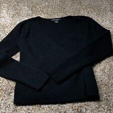 Sarah Spencer 100% Italian Merino Wool Sweater XL Black Women's V Neck Fold
