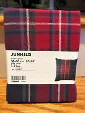 "New IKEA Pillow Cover Junhild PLAID Cushion Cover 20 x 20"" Blue Red Plaid Check"