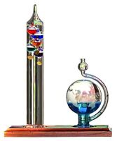 "Galileo Thermometer with Glass Globe Barometer Temperature and Weather 8""L x 8""H"