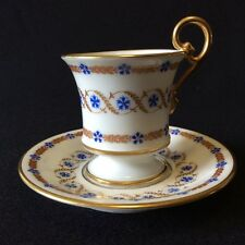 Tasse et sous-tasse porcelaine de Paris décor Marie-Antoinette Barbeaux XIXe .