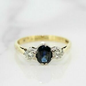18ct Yellow Gold Sapphire and Diamond Three Stone Ring (Size N 1/2, US 7)