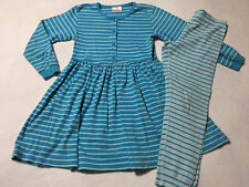 Hanna Andersson 130 8 Blue Opposite Stripe Playdress Dress Leggings Set READ