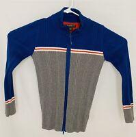 Eddie Bauer Red White Blue Full Zip Stretch Ribbed Knit Sweater Women's Medium