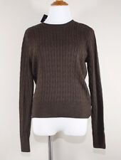 jeanne pierre women M sweater Knitted New brown crew neck pullover solid stretch