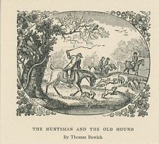 ANTIQUE HUNTSMAN HORSE OLD HOUND DOG DOGS MINIATURE OLD SMALL ART PRINT