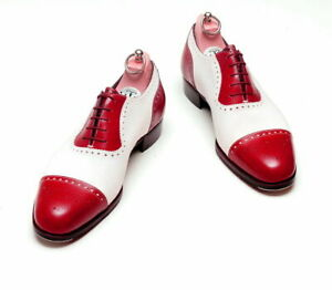 Handmade Men's Red & White Two Tone Heart Medallion Lace Up Leather Oxford Shoes