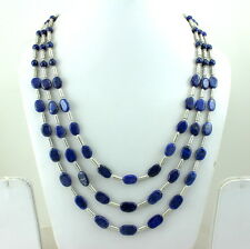 GIFT FOR CHRISTMAS NECKLACE NATURAL BLUE LAPIS LAZULI GEMSTONE BEADED 73 GRAMS