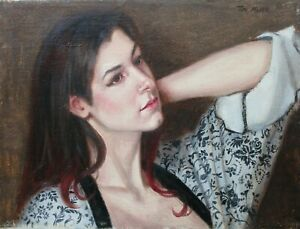 Artist's Original Oil Painting- Model Posing with Robe