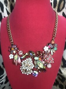 Betsey Johnson Opulent Floral Opal White Flower Bug Beetle Strawberry Necklace