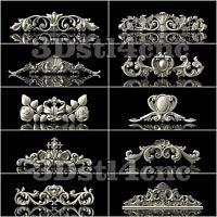 10 3D STL Models Decor Elements for CNC Router Carving Machine Artcam aspire