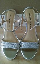 NEW!! Chinese Laundry Pretty Slingback Sandals Silver Heels Pumps Shoes Size 8.5
