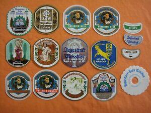 MÜNCHEN Augustiner Brauerei alte Bieretiketten + 1 Pilsdeckchen