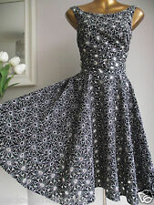 MONSOON KELLY DAISY BLACK WHITE EMBROIDERED CUTWORK 50's XMAS PARTY EVE DRESS 18