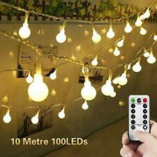 Globe String Lights, 10M 100 LED Outdoor Fairy Lights Battery Powered 8 Modes