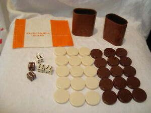 """Vintage Replacement Backgammon Pieces Brown & Cream 1 3/8"""" Chips/Shakers/Dice"""