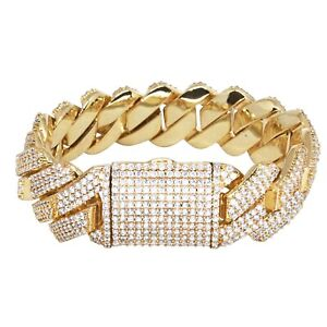 Iced Cuban Link Out Prong Bracelet VVS Diamond 19mm 18K Gold Plated Rapper New