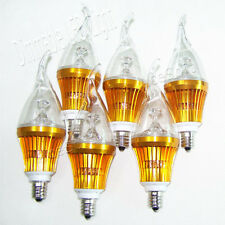 6x E12 9W Dimmable Warm White Tail High Power LED Chandelier Candle Light Bulb